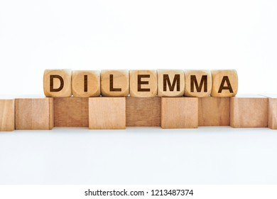 Dilemma word on wooden cubes