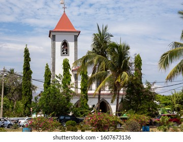 Dili  (East Timor) - November 28th  2019: Bell tower detail of the Church of Saint Anthony of Motael.