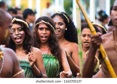 Dili Timor Leste on February 18, 2012: people was singing and cheering during festival