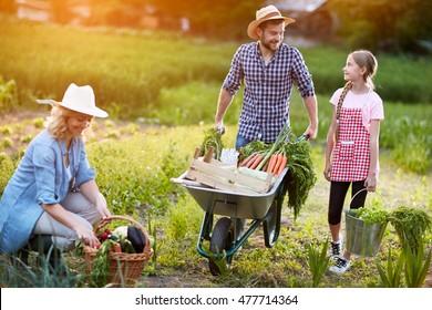 Diligent farmers family in garden