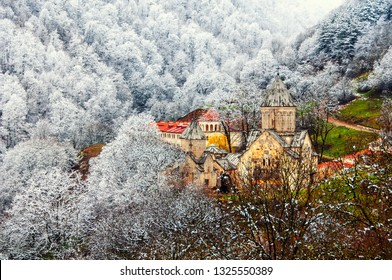 Dilijan, Armenia. Haghartsin Monastery near small town Dilijan in Armenia in spring. Hidden in winter forest covered with snow.