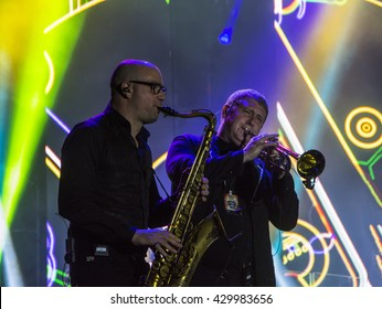 "Dilijan, Armenia - May 28, 2016: ""D Black Blues Orchestra"" concert  ""Claptomania"" dedicated to the Day of First Republic of Armenia. Marc Sort - saxophone and Sergey Rybin - trumpet"