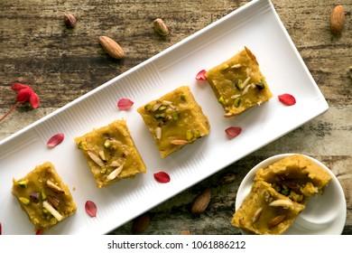 Dilkushar or besan ki chakki is a traditional Rajasthani sweet dish made from gram flour.