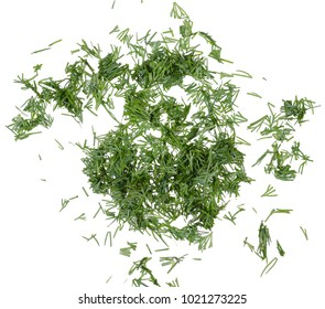 Dill chopped top view on a white background isolation