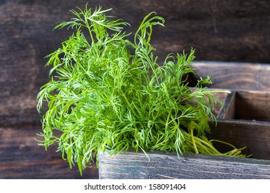 Dill in an old wooden box