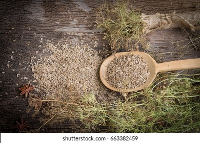 Dill with seeds in wooden spoon on old wooden background,Food herb for healthy