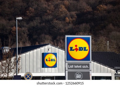 dillenburg, hesse/germany - 17 11 18: lidl sign in dillenburg germany
