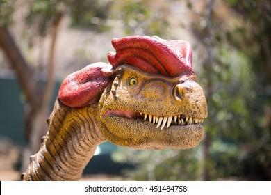 Dilophosaurus close up