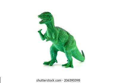 Dilophosaurus dinosaur toy figure isolated on white.