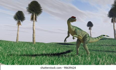 dilophosaurus on grass plane