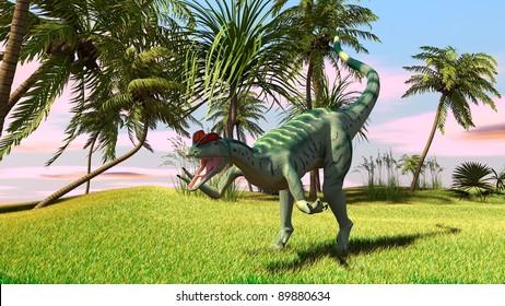 dilophosaurus in savanna