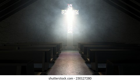 A dim old church interior lit by suns rays penetrating through a stained glass window in the shape of a crucifix reflecting colors on the floor in amongst rows of church pews