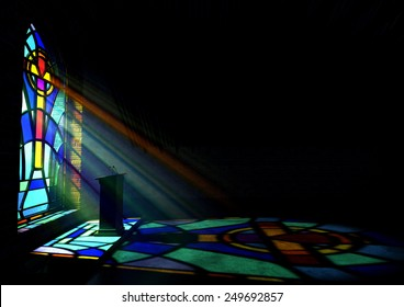 A dim old church interior lit by suns rays penetrating through a colourful stained glass window in the pattern of a crucifix reflecting colours on the floor and a speech pulpit