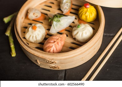 Dim Sum dumplings. Chinese traditional food.