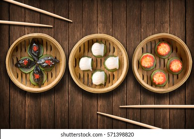Dim Sum dumplings on a wooden background