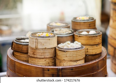 Dim sum steamers at a Chinese restaurant, Hong Kong