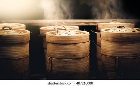 Dim sum steamers at a Chinese restaurant in Bangkok, Thailand