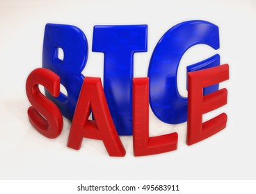 Dimensional inscription of Big SALE. 3D illustration.