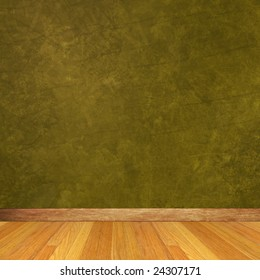 Dimensional Room with Green Wall and Wood Floor.