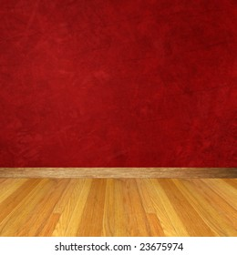Dimensional Room with Red Wall and Wood Floor.