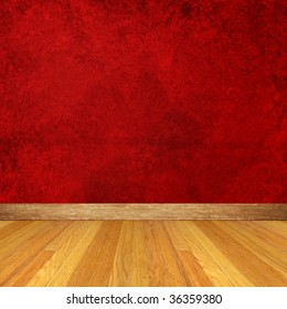 Dimensional Room with Red Wall and Wood Floors.