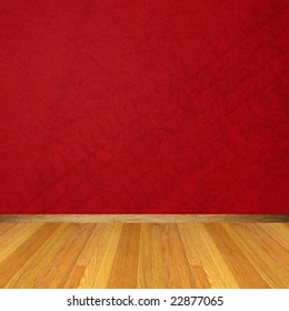 Dimensional Room with a Red Wall and Wooden Floor.