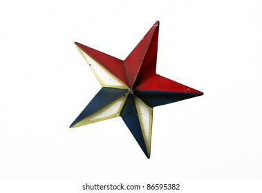 Dimensional Rustic Patriotic Red, White and Blue Metal Star isolated on white background