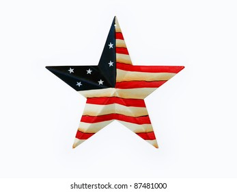 Dimensional Rustic Patriotic USA Flag, Red, White and Blue Metal Star isolated on white background