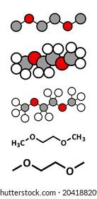 Dimethoxyethane (glyme, DME, dimethylene glycol) chemical solvent molecule. Stylized 2D renderings and conventional skeletal formulae.