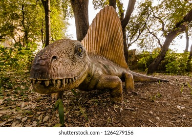 Dimetrodon in the foreground at the dinosaur exhibit in Livorno, Italy 01 28 2018