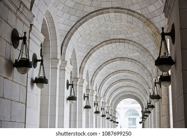 Diminishing perspective of arches in the Union Station arched alley