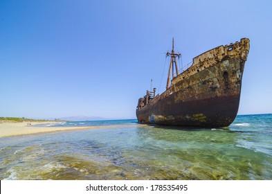 Dimitrios shipwreck at Selinitsa beach near Gytheio, Greece