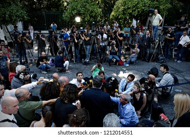 Dimitris Koutsoumpas, General Secretary of the Communist Party of Greece speaks to media outside of Presidential Palace in Athens, Greece on Jul. 6, 2015