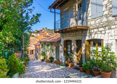 Dimitsana, Greece/October, 2018: Street view of Dimitsana village, a popular winter destination in mountainous Arcadia in Peloponnese, Greece