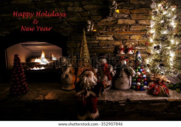 Dimly Light Room Happy Holidays Merry Stock Photo (Edit Now