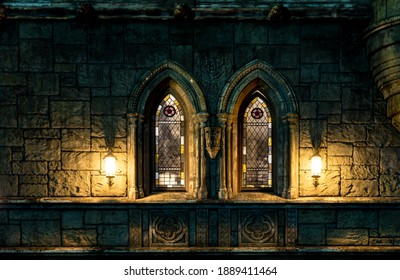 dimly lit stained glass windows of a stone castle, selective focus