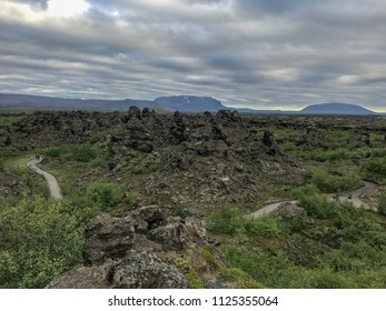 Dimmuborgir, Iceland. Barren volcanic landscape of bizarre Dimmuborgir lava formation near Lake Myvatn, Iceland. Large area of unusually shaped lava fields east of Mývatn in Iceland. Rock formation.