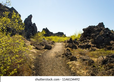 Dimmuborgir, Iceland. Barren volcanic landscape of bizarre Dimmuborgir lava formation near Lake Myvatn, Iceland. Large area of unusually shaped lava fields east of Mývatn in Iceland. Rock formation.