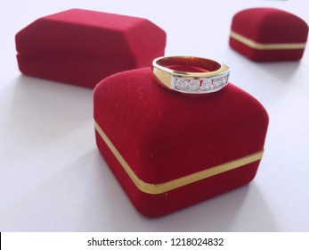 Dimond ring on red box packaging