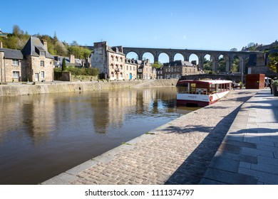 DINAN, FRANCE - APRIL 17, 2018: Beautiful view of medieval old town of Dinan, Brittany (Bretagne), France