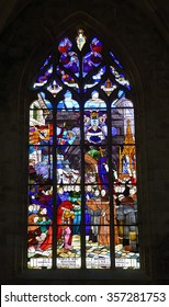 DINAN, FRANCE - JUNE 29, 2015: Eglise Saint-Malo, window in church. Dinan is a walled Breton town and first-class tourist attraction in Brittany, northwestern France