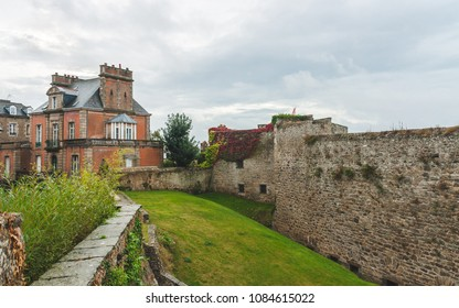 DINAN, FRANCE - OCTOBER 6, 2009: Stone walls of Chateau de Dinan, medieval castle built in 14th century that consists of keep and ramparts