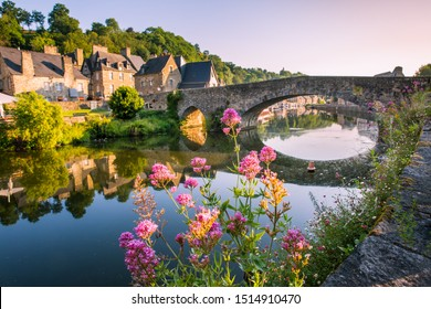 Dinan Old Medieval Bridge and Stone Houses Reflecting in Rance River in Bretagne, Cotes d'Armor, France