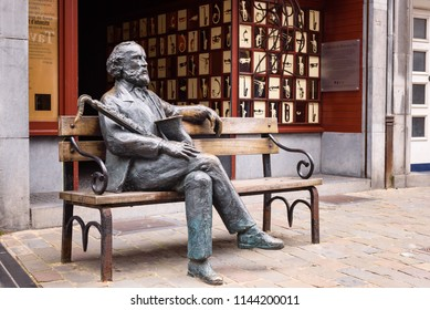 DINANT, BELGIUM. June 17, 2018: Statue of Adolphe Sax, Belgian musical instrument designer and inventor of the saxophone at Adoplhe Sax museum in Dinant, Wallonia, Belgium
