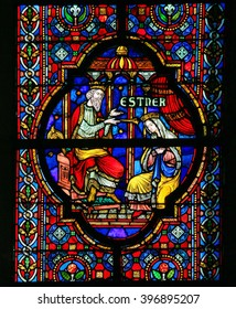 DINANT, BELGIUM - OCTOBER 16, 2011 Stained glass window depicting Esther, biblical queen of Persia, in the Notre Dame church in Dinant, Belgium