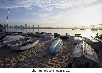 dinghies beached on a sand at daybreak on Coronado Island
