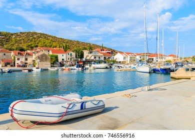 Dinghy boat in port in Marina town between Rogoznica and Trogir, Dalmatia, Croatia