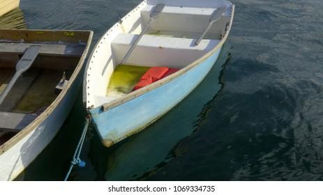 Dinghy floating inthe harbor