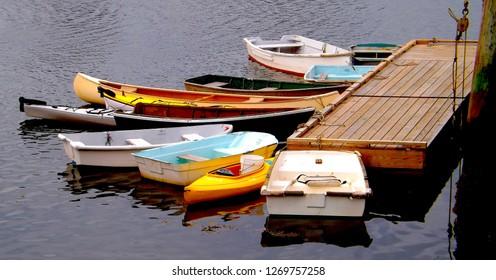 Dinghys at a Dock Maine Coast