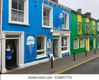 Dingle, Ireland - July 15,2018: Typical street in Dingle. Dingle is a town in County Kerry, Ireland. The only town on the Dingle Peninsula